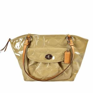 Coach Leah Large Tote Embossed Patent Leather Tan